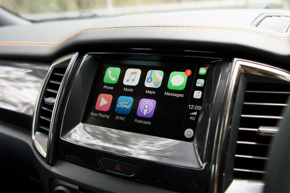 The Ranger's 8.0-inch touchscreen is crisper and offers a higher-resolution display than the VW.