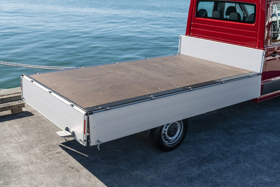 The rear barn doors can also be upgraded to versions that open to 270 degrees on the medium- and long-wheelbase versions. (Tray pictured)