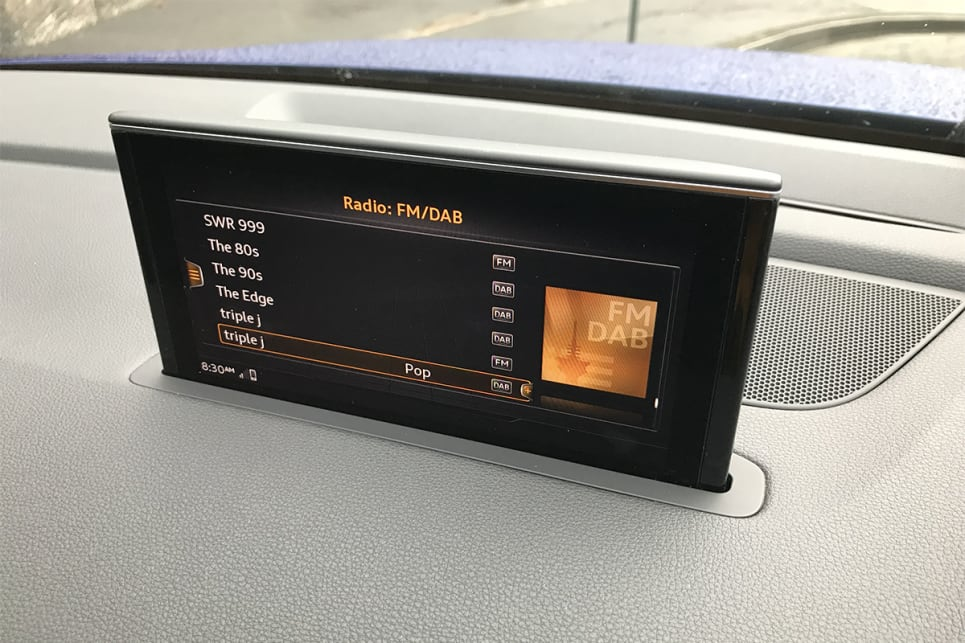 The 8.3-inch high-res touchscreen controls the DAB+ digital radio, and nav.