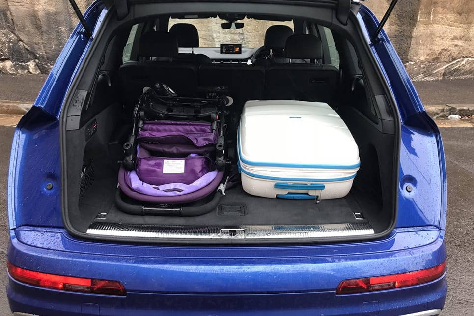 There's enough room to hold the CarsGuide pram, with some room for soft bags left over. (image credit: James Cleary)