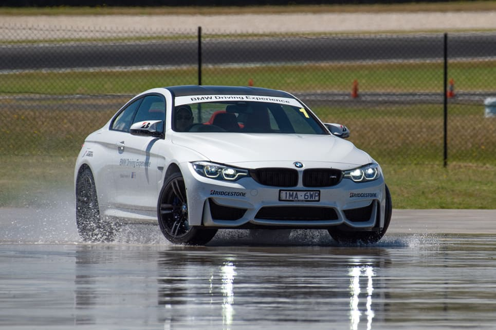 The program included a wet skidpan drift session.