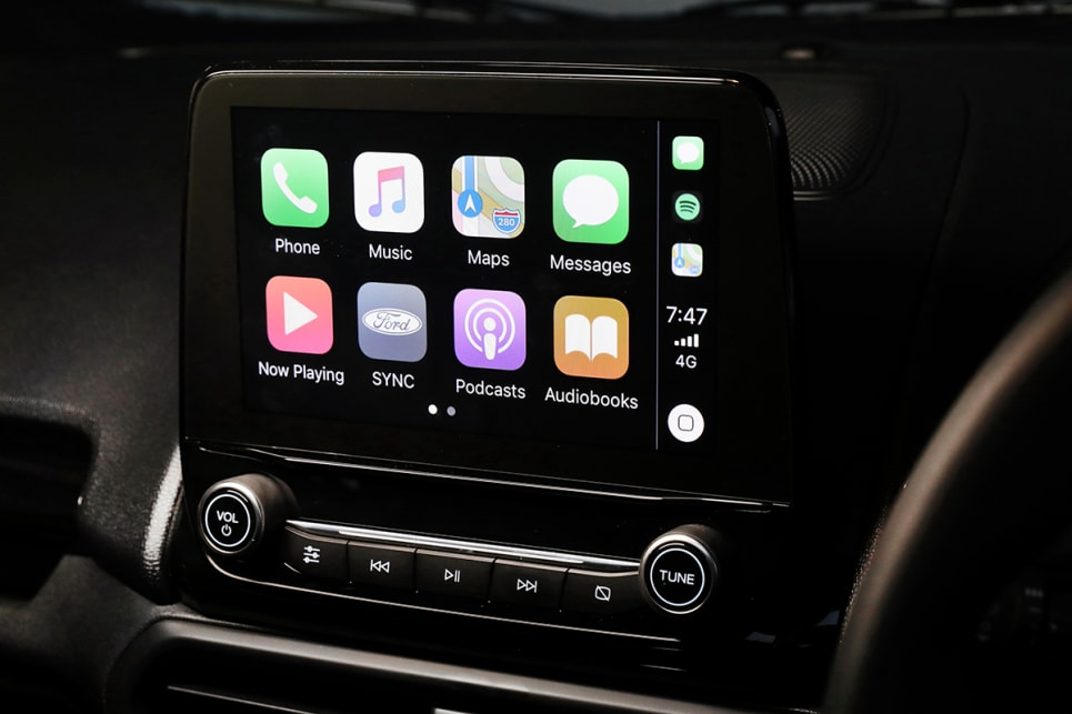 All levels of the Ecosport comes with Apple CarPlay and Android Auto phone mirroring tech.