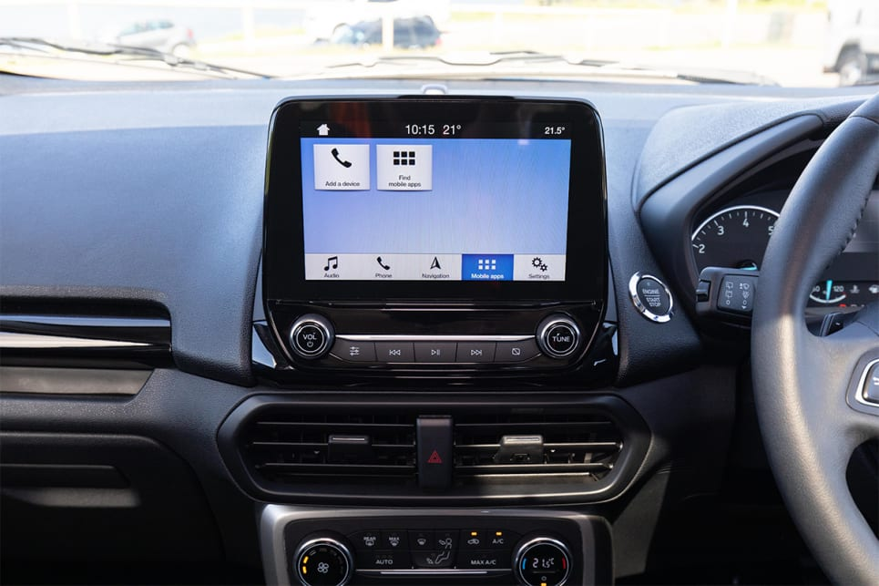 There's an 8.0-inch touchscreen that comes with Apple CarPlay and Android Auto. (image credit: Dean McCartney)