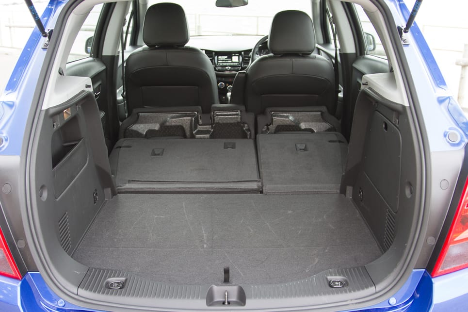 With the seats down there is 785-litres of boot space. (2018 Holden Trax LT model shown)