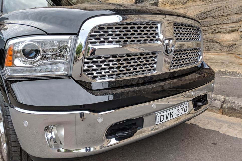 The Laramie's exterior is adorned with thick slabs of chrome everywhere you look.