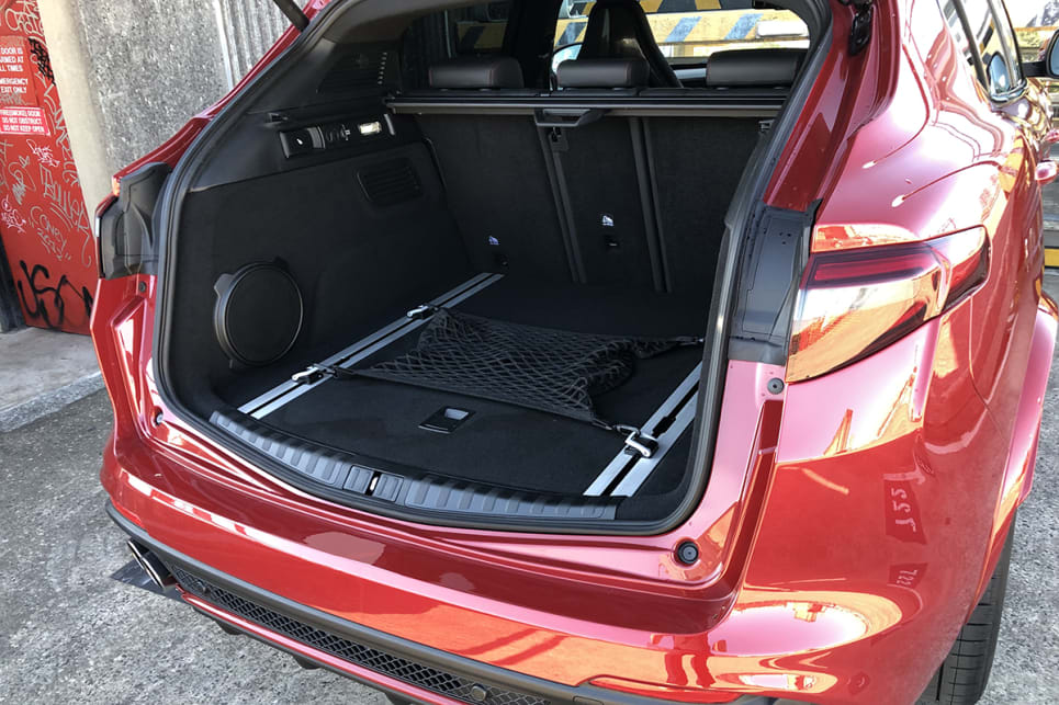 The Stelvio Quadrifoglio's 525-litre boot is large for the segment.