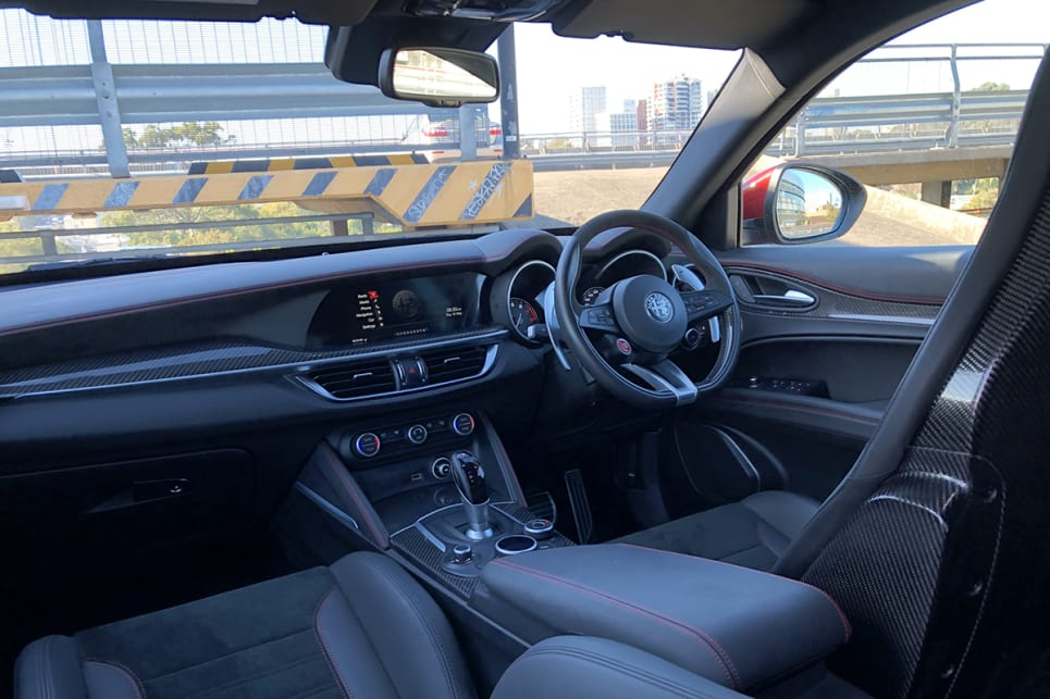 The Stelvio Quadrifoglio's cockpit is sumptuous, modern and comfortable.