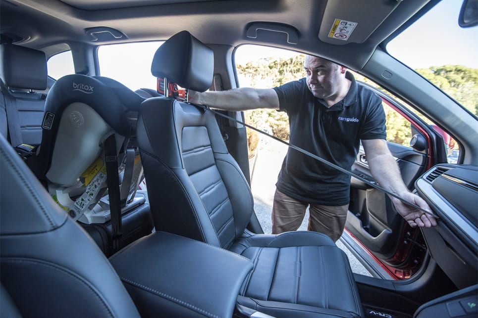Despite being similar in overall size, there was a full 10cm of space between the space allowed for an adult in the CR-V (best) and Mazda CX-5 (worst) with a child seat fitted behind.  (image credit: Dean Johnson)