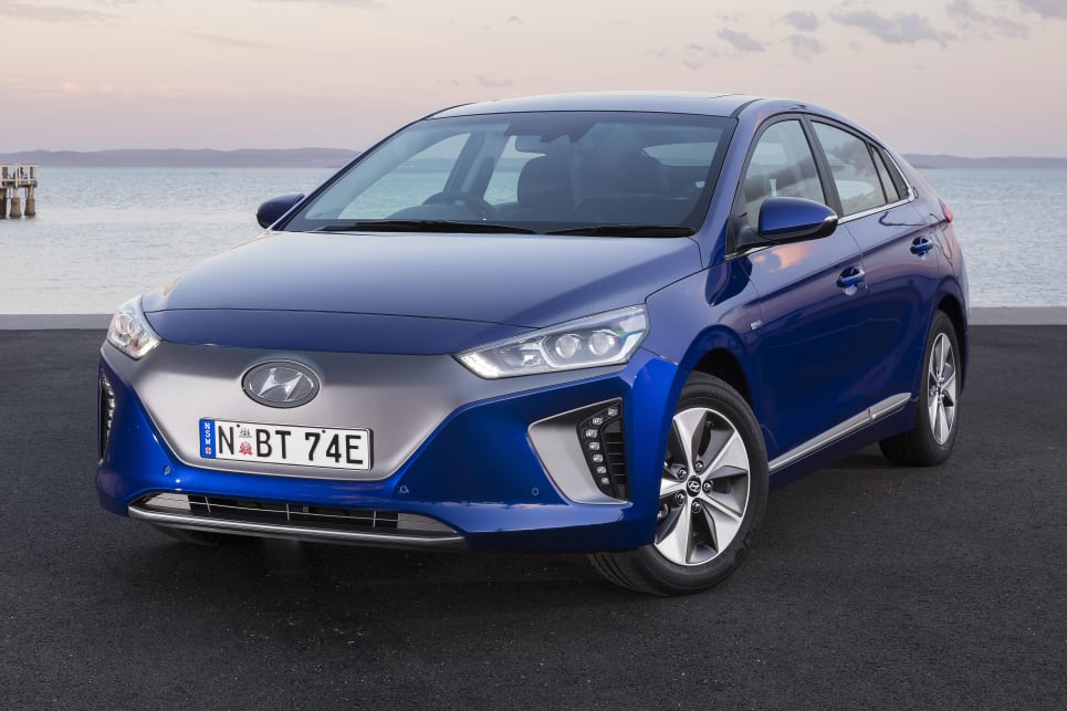 The Ioniq's a smoothed underbody, front wheel air curtains, and functional diffuser contribute to a super-low drag coefficient of 0.24. (Electric variant shown)