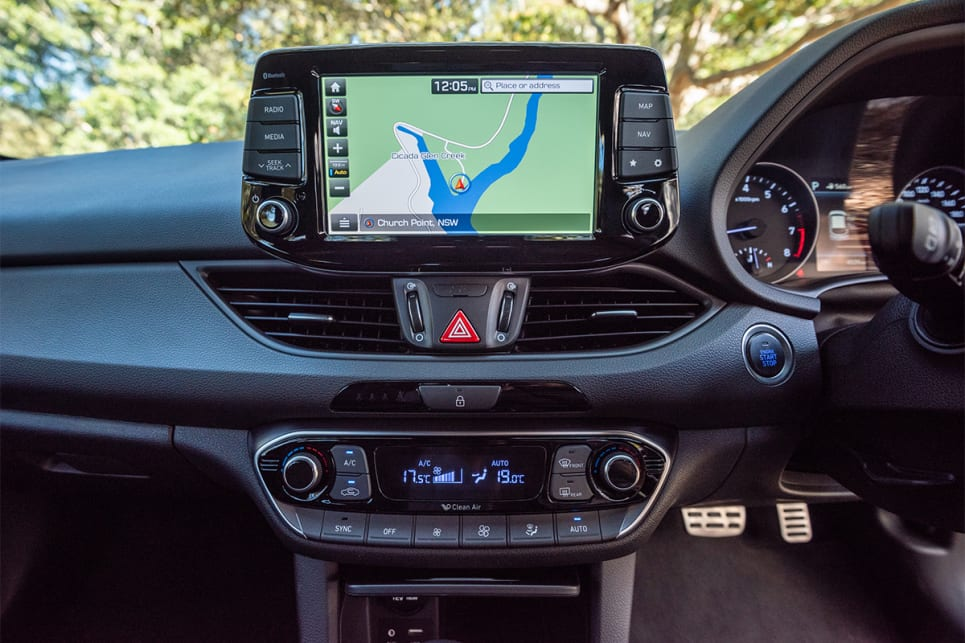 The 8.0-inch multimedia screen in the Hyundai is very similar to what's offered in the Kia.