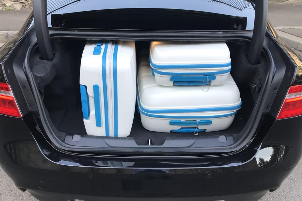 Our three-piece hard suitcase set fitted in with room to spare.
