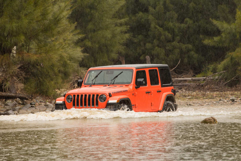 The Rubicon has a standard wading depth of 762mm. It has a bit more ground clearance and almost 40cm more wading depth than the Jimny. (image: Brendan Batty)