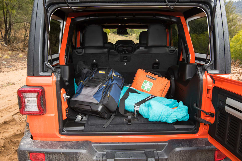 Rear cargo space for the Rubicon is listed as 2050 litres (with seats folded down), and 897 litres with rear seats in use. (image: Brendan Batty)