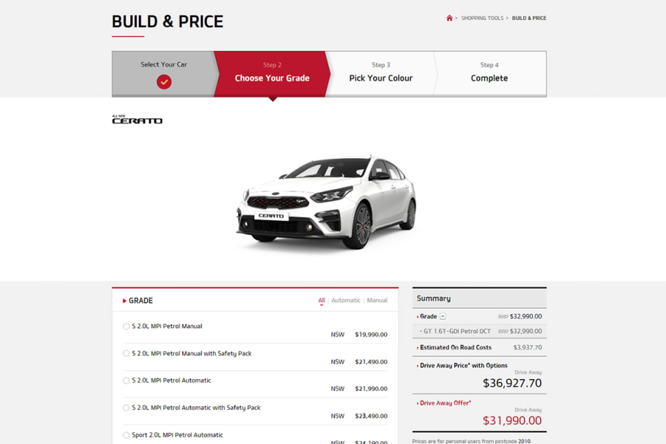 The 'build and price' configurator on Kia Australia's website shows the sedan and hatch form for $32,990 or $31,990 drive-away.