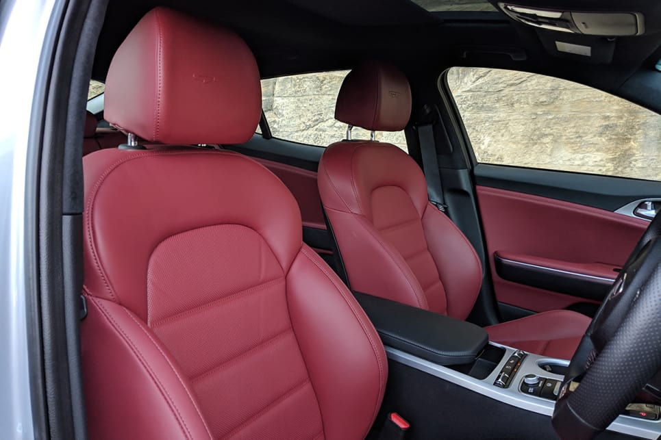 The driver's seat is positioned low and provides a snug fit and both front seats have heating and ventilation.