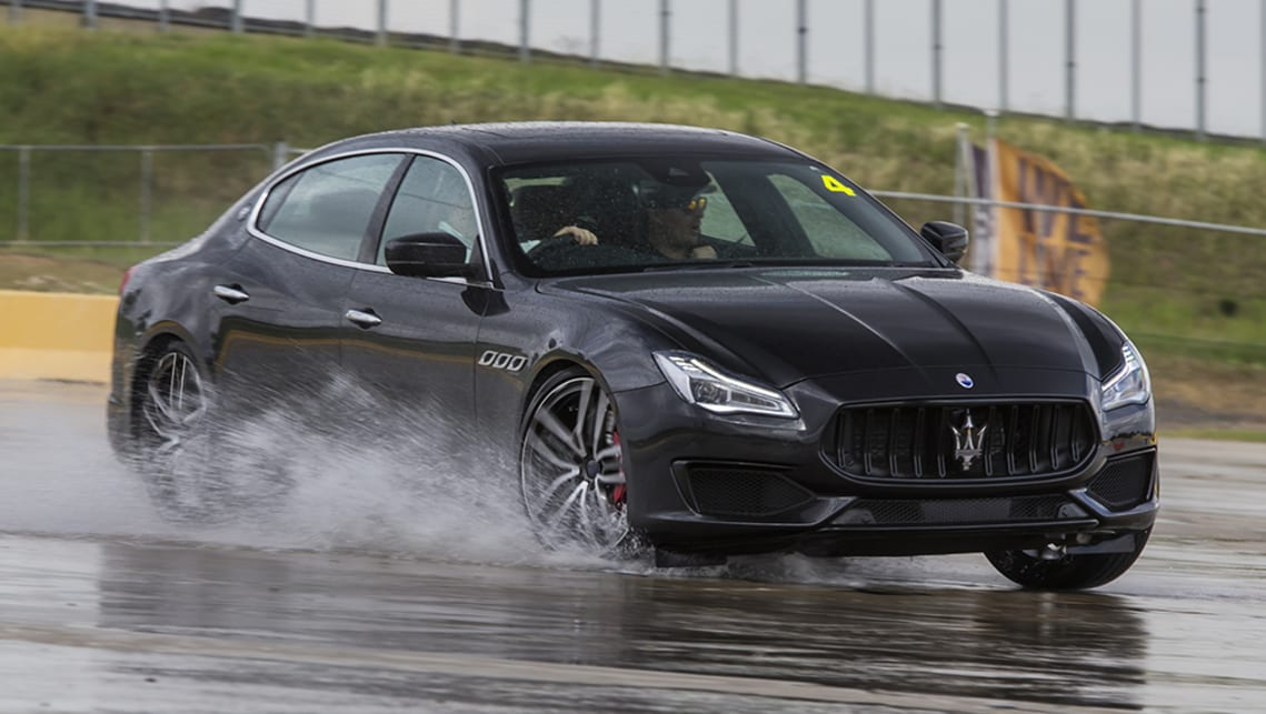 Lapping a simple circle of cones with all traction aids on and the throttle floored, the Quattroporte simply walked around while holding its line.