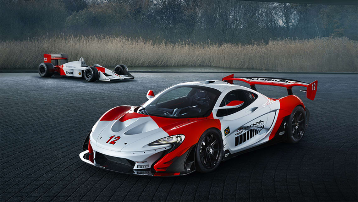 The P1 GTR livery is a tribute to the colour scheme of McLaren's Rocket Red and Anniversary White.