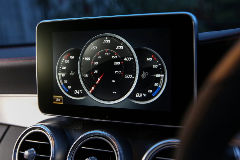 The 'Comand' multimedia system features various functions that offer real-time power and torque outputs...