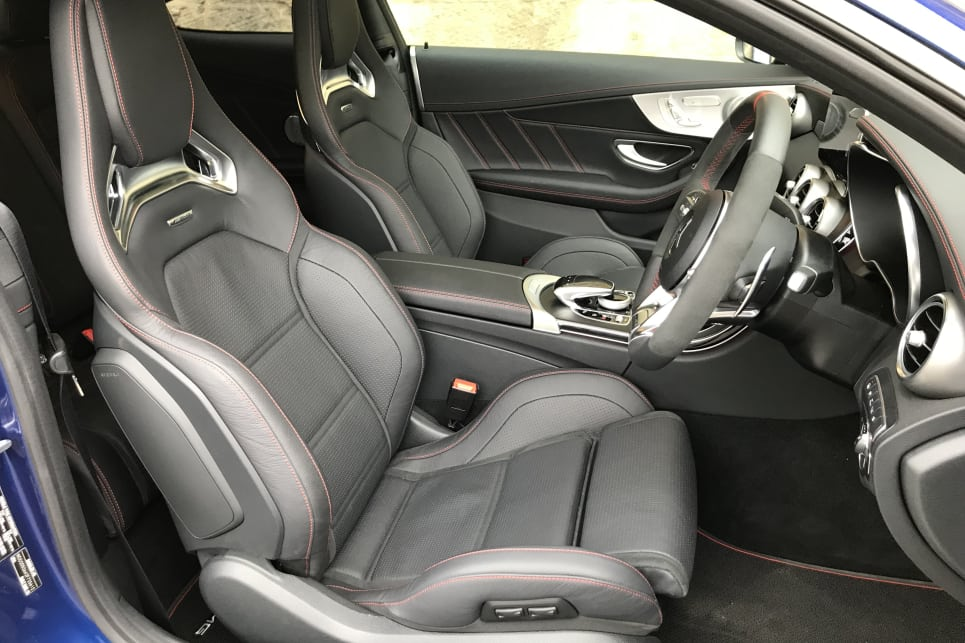 The C 43 is a text book 2+2, with ample room and comfort provided for front seat occupants...