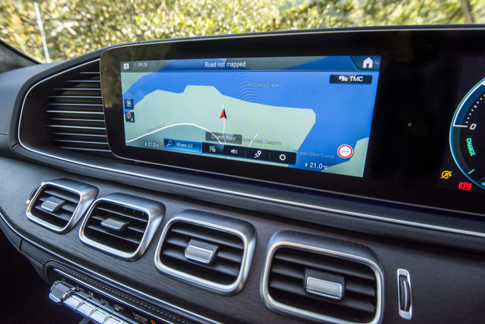 The Mercedes features the brands MBUX driver interface