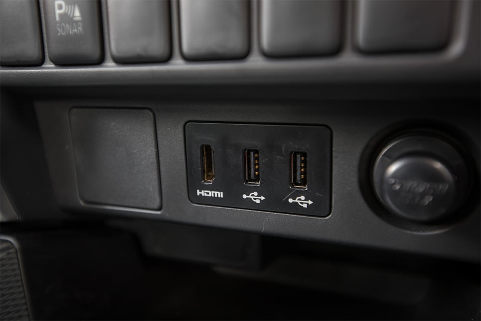 Inside, there are two USB ports and a HDMI plug.