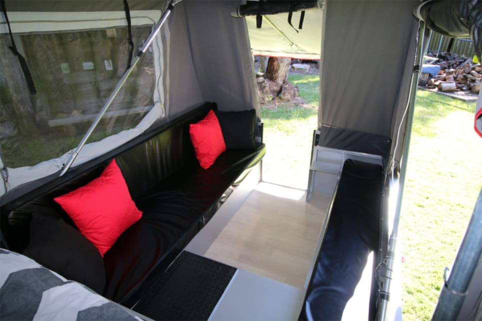 The Modcon Quattro is one of the best campers for a family, and distinctly, has a rear door, rather than one in the side.