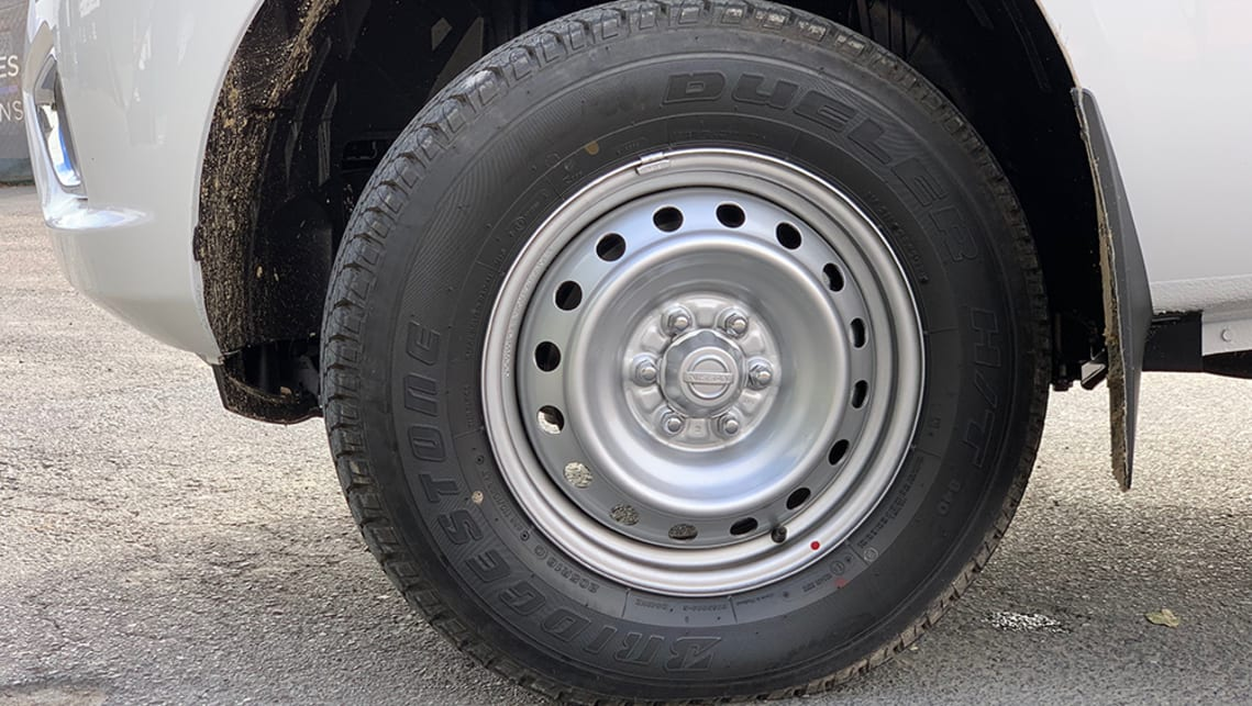 It rocks tradie-spec 16-inch steel wheels clad with Bridgestone Dueler H/T rubber.