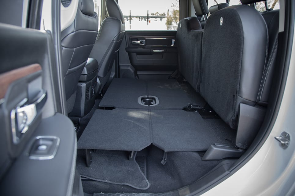 The rear seat bases can be latched up and a flat platform can be put down for secure, flat storage. (image: Glen Sullivan)
