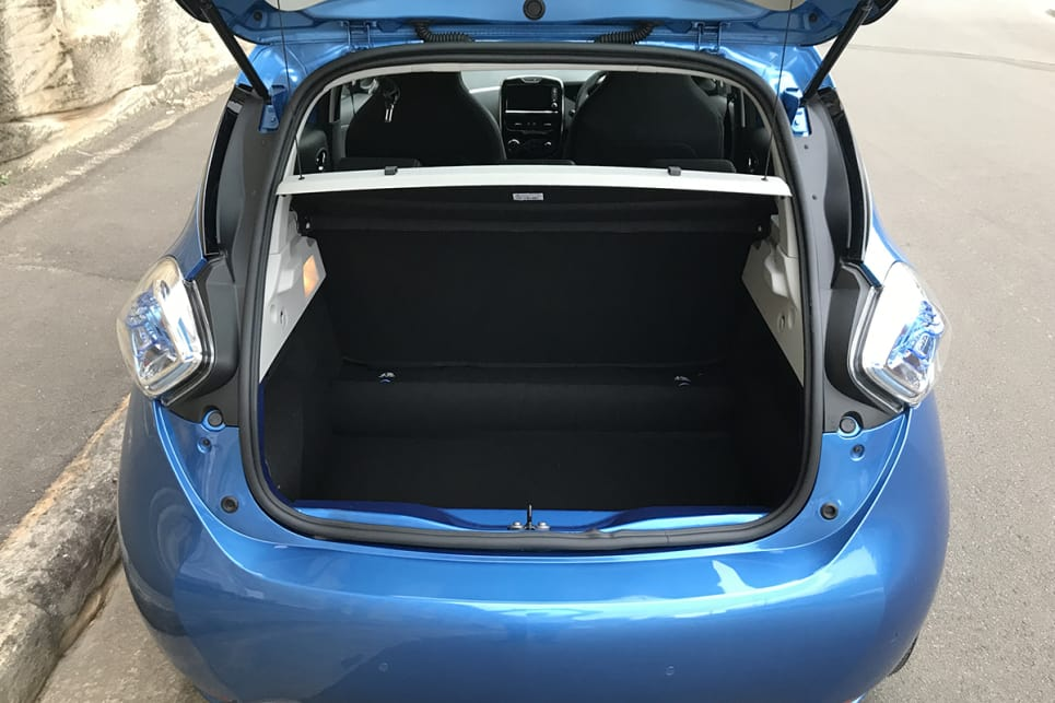 It's cargo space where the Zoe really raises eyebrows, with 338 litres available (to the parcel shelf) with the single piece rear seatback.
