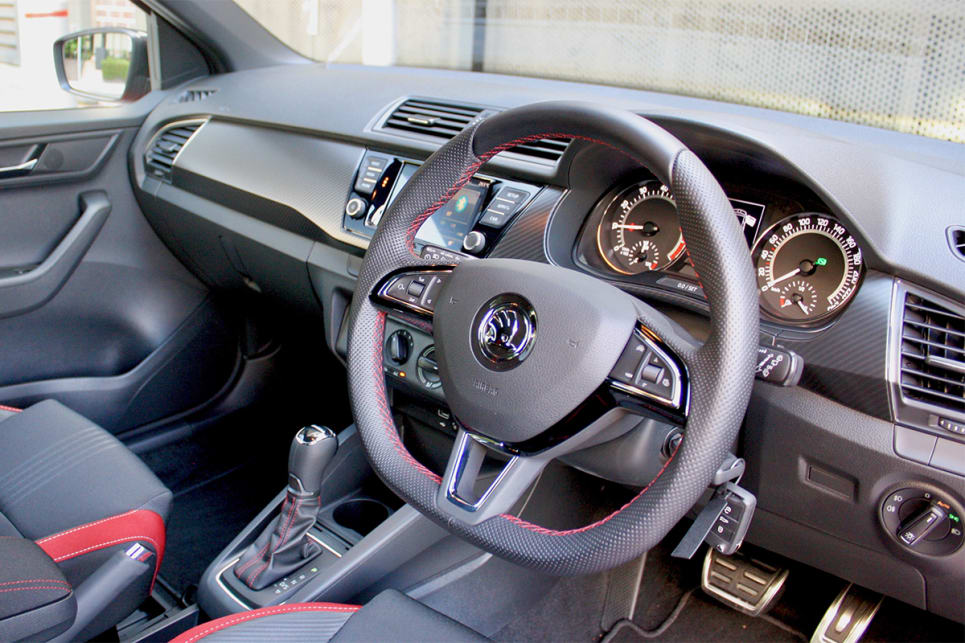 Inside, there's a flat-bottom steering wheel and the seats get a unique trim.