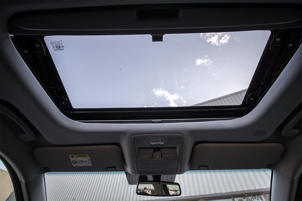 Inside, there's a sunroof.