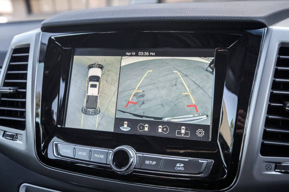 The Musso also has a reversing camera and a 360-degree surround-view camera.