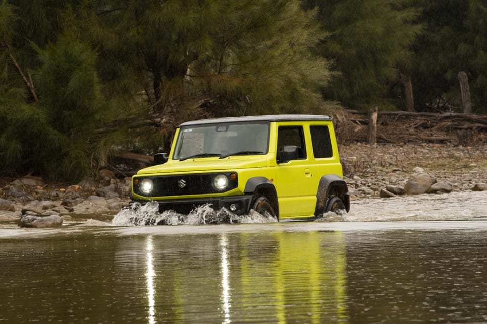 The Jimny has a wading depth of 300mm, and while there was a fair bit of rocking and rolling as the little Zook trucked over the submerged rocks in the creek bed – a failure to progress was never a possibility. (image: Brendan Batty)