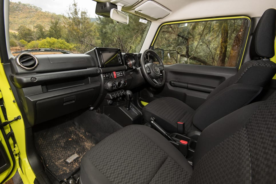 The Jimny's cabin is, as expected, a small space but it has a few small storage options. (image: Brendan Batty)