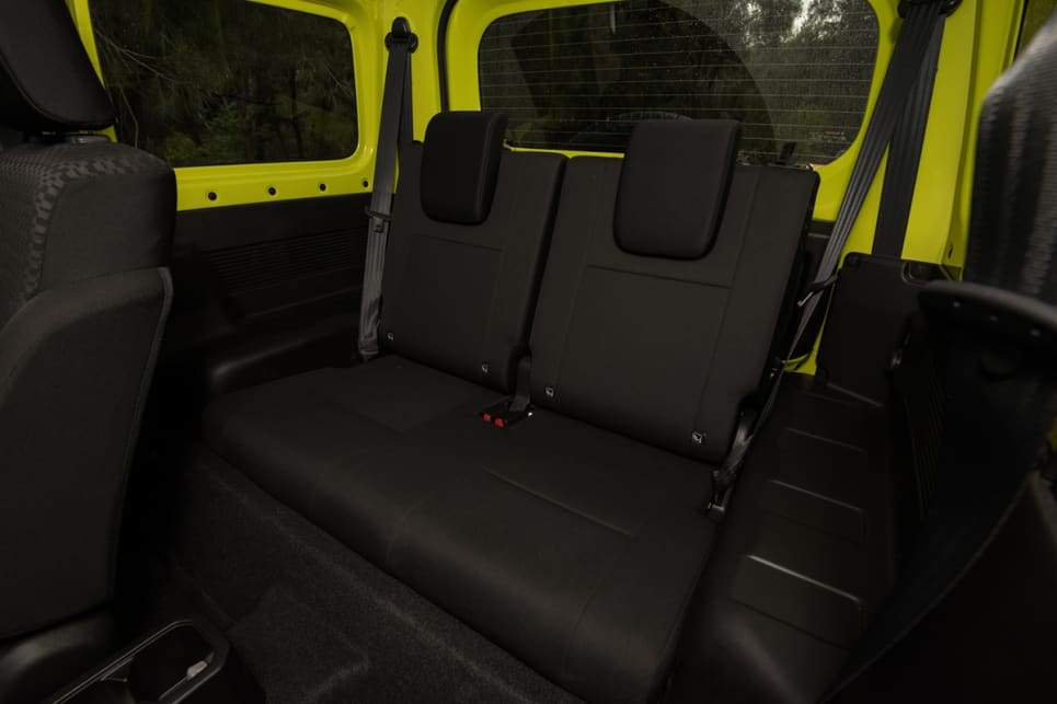 The four-seater Jimny has ISOFIX child seat mounts in the rear seat. (image: Brendan Batty)