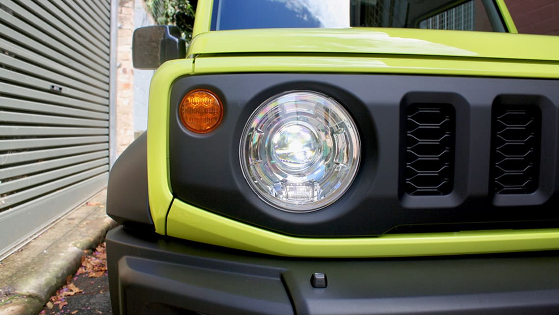 Old-school round lights up front add to the bluff front end and overall look of the Jimny.