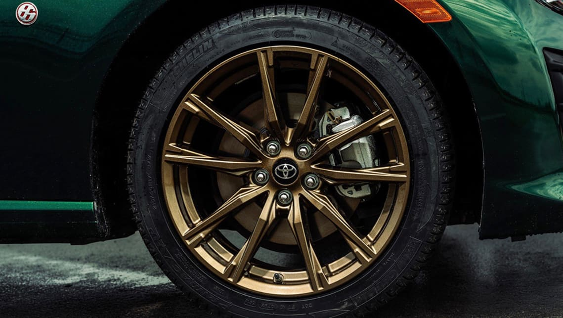 The Toyota 86 Hakone edition gets bronze-coloured alloy wheels.