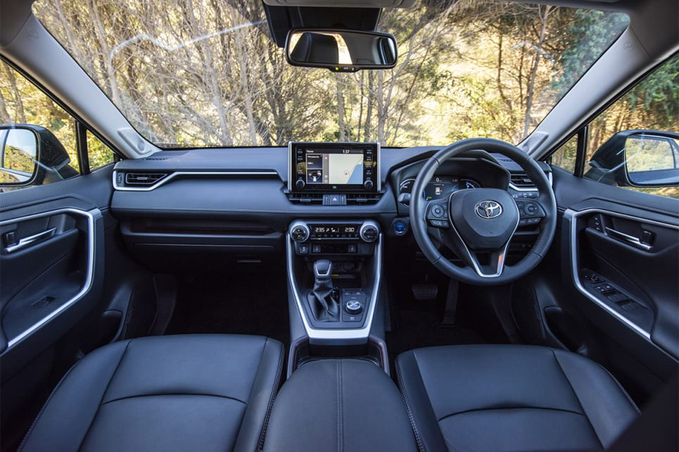 Like its exterior, the interior of the RAV4 has rugged elements. (image credit: Dean Johnson)
