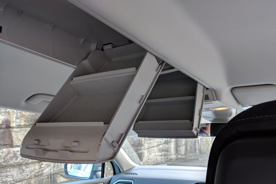 There is a vast amount of storage in the Tiguan, with various hidey-holes and two large overhead roof console compartments.