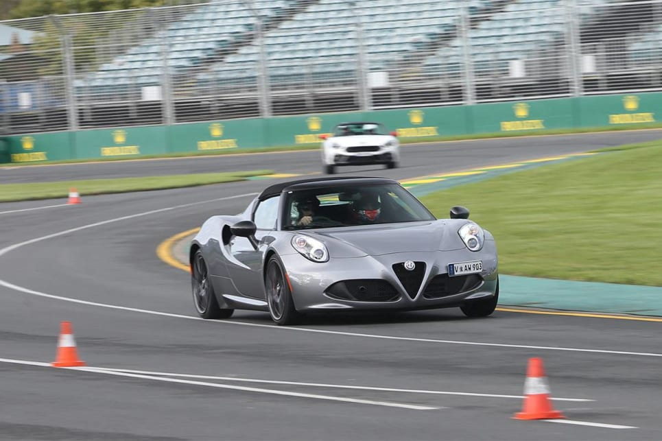 The 4C surprisingly couldn't keep up with the Stelvio on track, but it was a whole lot more fun.