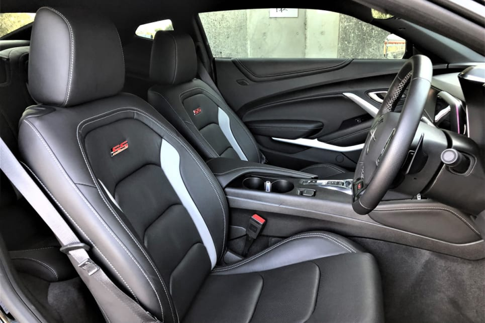 The Camaro 2SS's cabin is very cozy.