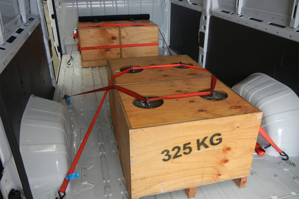 With four 325kg concrete weights and driver on board our combined payload was still under the 2145kg rating.