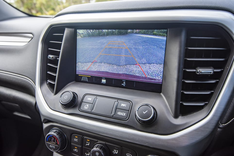 A reversing camera makes parking a breeze (pictured: Acadia LT).