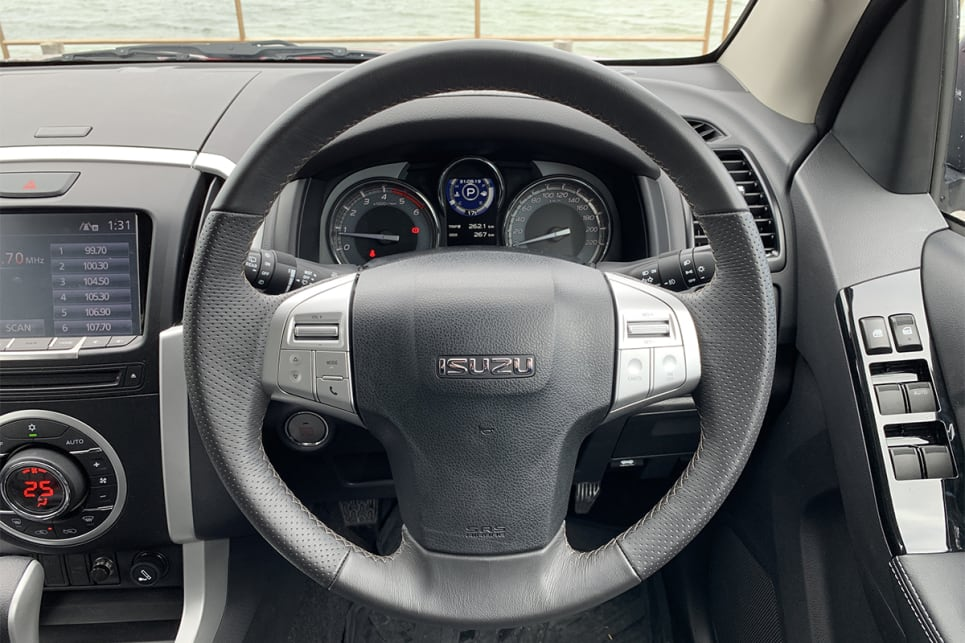 The LS-T adds a leather steering wheel.