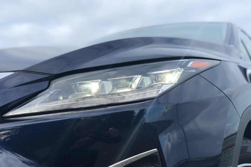 Auto LED headlights come standard with the RX450h F Sport.