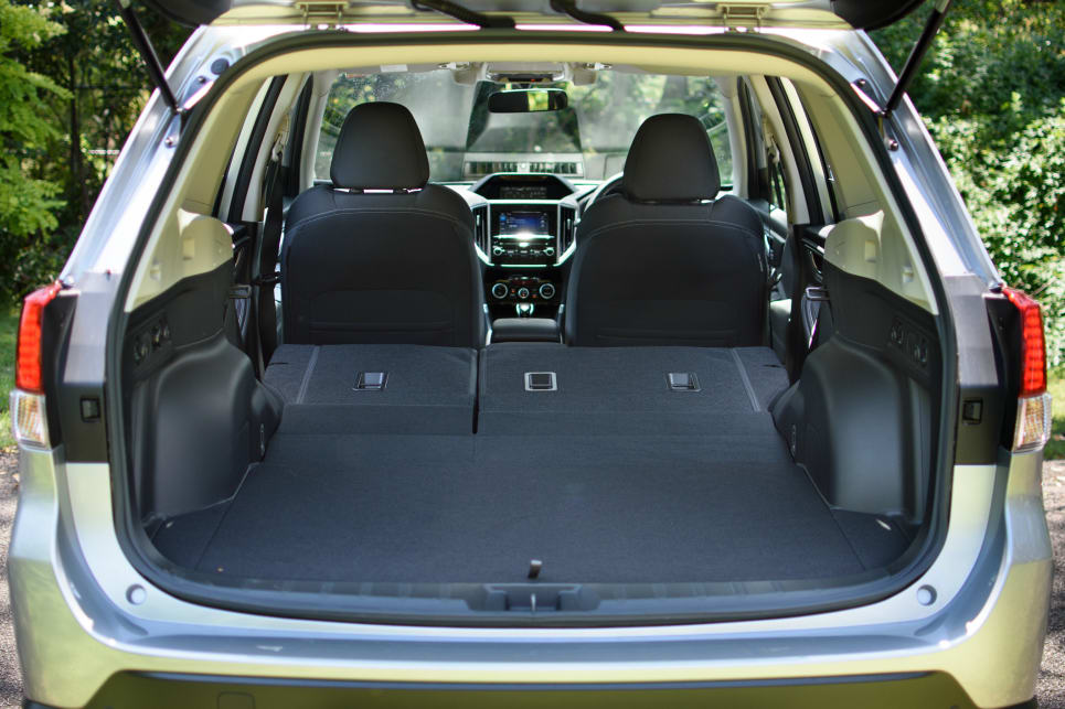 Drop the seats and the Forester's capacity balloons to 1768L.