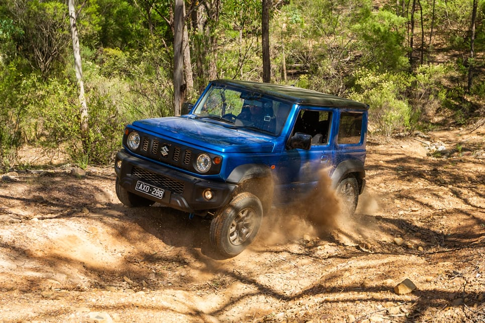 The Jimny feels right at home in the bush.