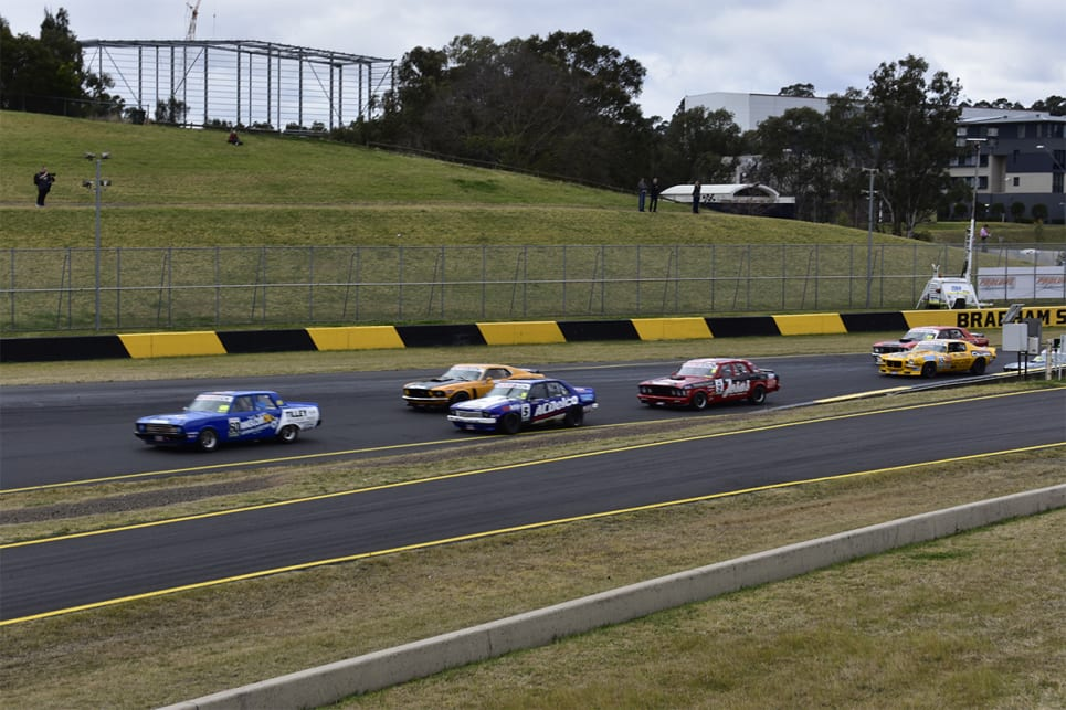 Cameron Tilley leading the pack in the reverse grid race.