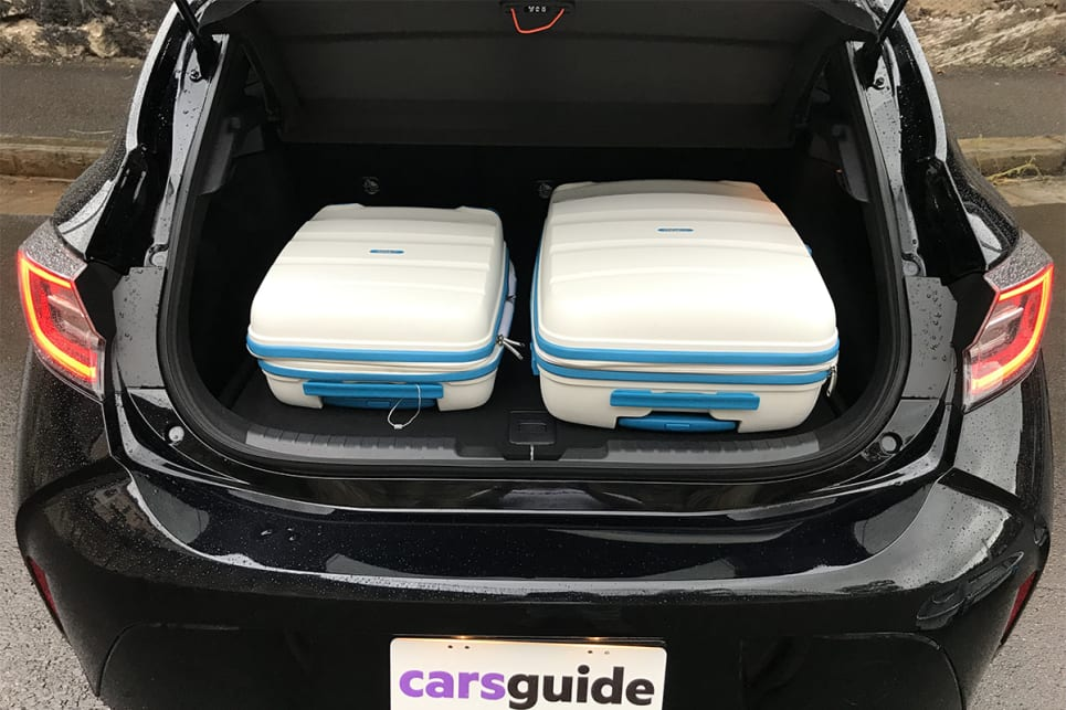 From our three-piece hard suitcase we could fit the small and medium-size cases, but not all three at the same time.