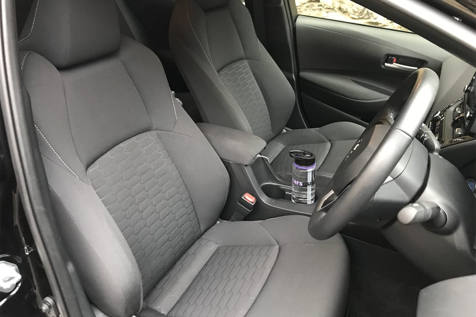 Up front, the Corolla SX provides a pair of decent-sized cupholders in the centre console.